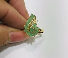 14k Solid Yellow Gold Emerald Cluster Flower Ring 2.05GM 2.40CT Size 7