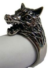 WOLF SHOWING TEETH STAINLESS STEEL RING size 8 silver metal S-505 unisex wolves
