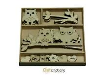 Wooden Mini Shapes Embellishment Toppers Owls Trees Hearts Bird Flower CE204