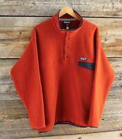 Vintage Patagonia Orange Synchilla Snap T Sweater Size  Large