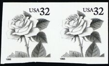 2492 32¢ Rose Imperforate and With Color Omitted Pair --- Stuart Katz