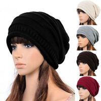 Neu Unisex Damen Herren Mützen Wintermütze Mütze Long Beanie Strickmütze Ski Hut