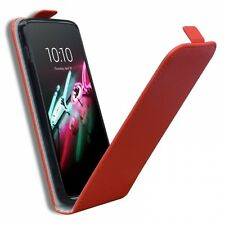 Coque Housse Alcatel OneTouch Idol 3 (5.5) Rabat Vertical Cuir Eco Gel Rouge