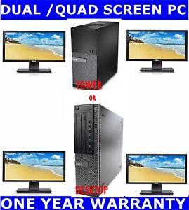 """DELL i7  3rd Gen COMPUTER PC QUAD SCREEN 480GB SSD + 2TB 16GB RAM  4 X 22"""""""