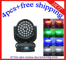 4pcs Wireless DMX 36*10W Led Moving Head Zoom 4 in 1 Effect Light Free Shipping