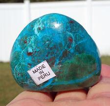 Chrysocolla Green Malachite & Rare Red Cuprite Crystal Sweet Pocket Palmstone