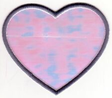 Shinny White Gray Grey Heart Embroidery Patch