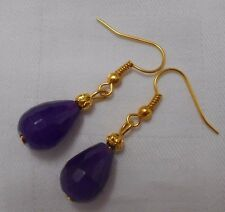 Unique Handmade Earrings Amethyst Round Beads Gold Plated With Stoppers