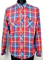 LEE Western 'Rider' Shirt Men's XL Cotton Checked Plaid Long Sleeved Snap Button