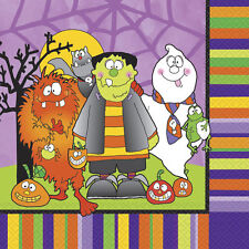 16 X HALLOWEEN NAPKINS Party Disposable 33cm Paper Napkins LITTLE MONSTERS