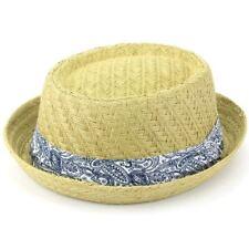 a3d889286f8a8 Straw Hat Porkpie Pork Pie Trilby Mens Ladies Summer Sun Retro Unisex  Hawkins 58cm Brown