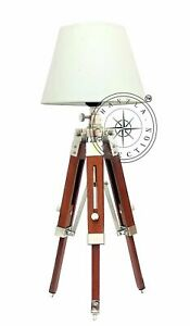 Table/Desk Lighting Nautical Chrome Shade Lamp Adjustable Wooden Tripod Stand