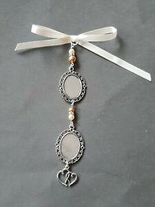 Wedding Bouquet Charm Double Heart Double Oval Silver Locket Pendant