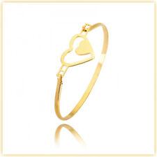 SOLID SURGICAL STEEL SILVER GOLD BRACELET BANGLE HEART LEAF CHARM HYPOALLERGENIC