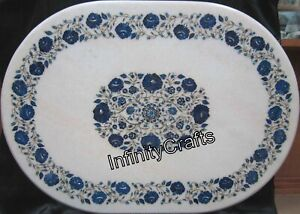 30 Inches Marble Coffee Table Top Inlay Lapis Lazuli Stones Patio Table for Lawn