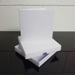 "6"" x 6"" White Greeting Card Box / Wedding Invite Box With Card Blanks Choose Qty"