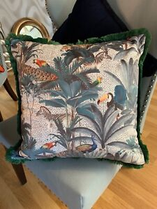 Animal Jungle Scene Velvet Cushion With Green Fringing On Edges