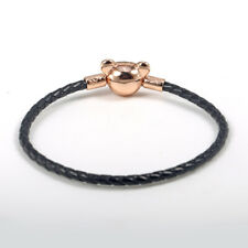 Pandora Black Leather Bracelet Sparkling Lion Princess Woven ALE S925 Genuine UK