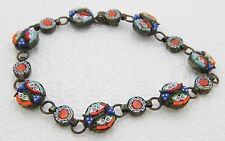 """Vintage Italy Silver Toned Filigree Micro Mosaic Floral Glass Bracelet - 7.25"""""""