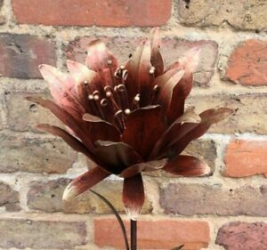 Gold Copper Bronze Lily Stake Garden Lawn Ornament Metal Gift Present Flower