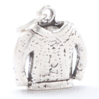 925 Sterling Silver SWEATER Charm Pendant ski 3D WINTER CHRISTMAS KNITTED