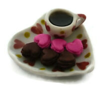 6 Macaroon in Heart Plate with Coffee Dollhouse Miniatures Food Valentine Bakery