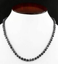 62 centimeters Certified 6 mm Black Diamond Round Faceted Beads Necklace
