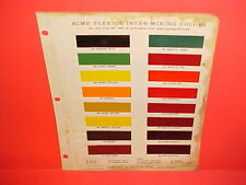 1934-1946 ACME AUTO CAR FLEET-X INTER-MIXING TINTING PAINT CHIPS COLOR CHART