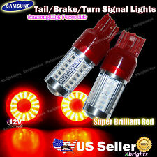 2pcs 7443 7440 Samsung LED Tail Brake Real Turn Signal Lights Projector Red #rb