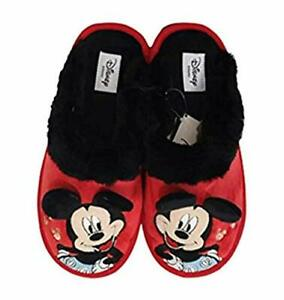 Disney Mickey Mouse Slippers 3D Ears Women's Red Indoor Slip On Mules Xmas Gift