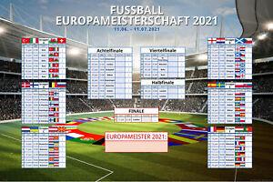 Fussball EM Planer 2021 Europa im 91,5x61 Maxi Poster Format mit Play-Off Runde