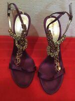 Roberto Cavalli  VERO CUOIO Crystal Embellished Ankle Sandal Heels Sz 37 US 6-5