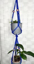 """Blue Macrame Plant Hanger 2 Tier Approx45"""" Pink Wood Beads Holds 2-Up to 4"""" Pots"""