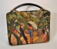 50's ROSENFELD Victorian Scene Needlepoint & Black Leather Satchel Bag Large EUC