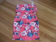LADIES CUTE PINK FLORAL POLYESTER STRAPLESS DRESS BY LIPSY - SIZE UK 14  NWT