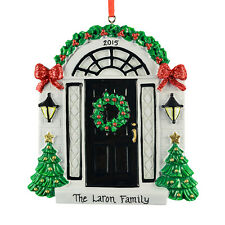 PERSONALISED NEW HOME BLACK DOOR WITH RED BOWS FRONT DOOR CHRISTMAS ORNAMENT