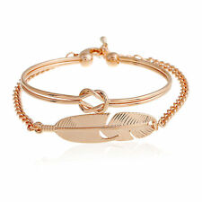 New Fashion 18K Rose Gold Knot Feather Double Wrist Bracelet Bangle Jewelry Gift