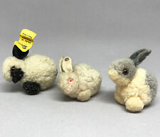 Steiff Woolen Rabbit x3 Wool Pom Poms 4cm ID Buttons one tag Black White Gray