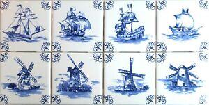 "Blue Nautical Delft Design Ship Windmill Set of 8 of 4.25"" Ceramic Tiles"