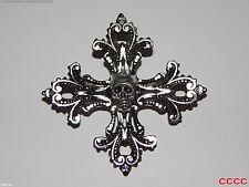 NEW steampunk brooch badge gothic cross silver skull pirate LARP Brosche