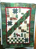 """34"""" x 45"""" Large Lodge Wall Hanging Quilt Moose Bear Home Decor 2008"""