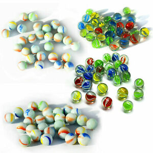 Glass Marbles Coloured Cat's Eye Milky Kids Toys Vintage Traditional Run Game