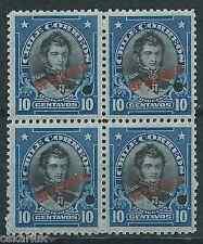 CHILE 1912 Presidents ABN O'Higgins block of 4 MNH SPECIMEN type I