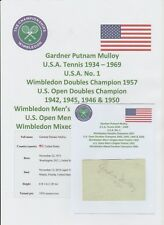GARDNER MULLOY TENNIS WIMBLEDON DOUBLES CHAMPION 1957 RARE ORIGINAL AUTOGRAPH