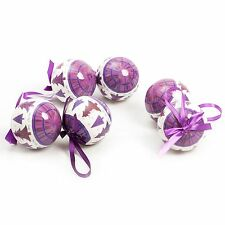 6 Pc Luxury Printed 8cm Christmas Tree Baubles Decoration Set - Purple Tree