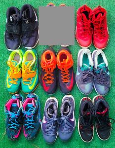 8 PAIR BEATER BOX Nike Shoes Young Men Sz 6 - 8 LeBron Kyrie Durant Jordan Bred