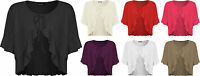 New Plus Size Womens Plain Tie Up Short Sleeve Ladies Frill Shrug Top 16 - 26
