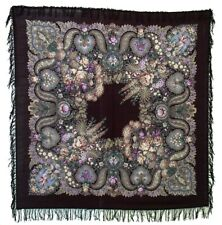Huge Authentic Russian Pavlovo Posad Woolen Shawl #73407 (wool fringe)
