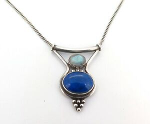 .Beautiful Sterling Silver Oval Lapis & Labradorite Pendant with Chain 42cm