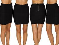 Womens Ladies Ribbed Panel Zip Back Plain Bodycon Stretch Mini Bandage Skirt